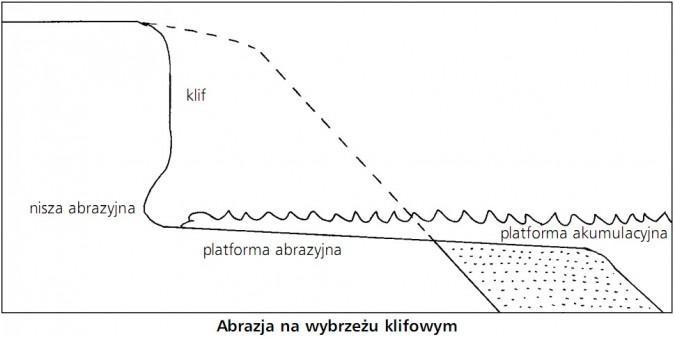 Abrazja na wybrzeżu klifowym. Nisza abrazyjna, klif, platforma abrazyjna, platforma akumulacyjna.