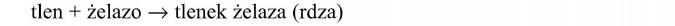 Reakcja utleniania. Tlen + żelazo = tlenek żelaza (rdza).