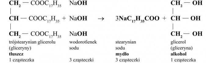 Tłuszcze - budowa i właściwości. Trójstearynian glicerolu (gliceryny), wodorotlenek sodu, stearynian sodu, glicerol (gliceryna). Tłuszcz, mydło, alkohol.